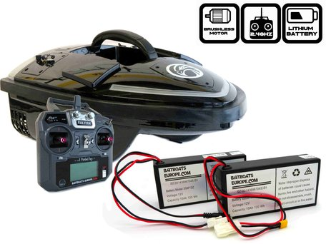 Sight Tackle Falcon Black Baitboat with Lithium ION Batteries