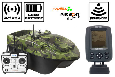 Anatec Pacboat Start'R Evo Forest Camo with Navic Black and White Fishfinder