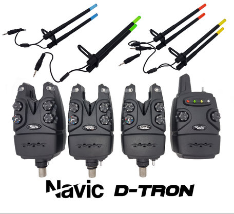 Navic D-Tron 3+1 bite alarm set with 3x illuminated Snagears