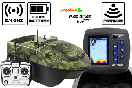 Anatec Pacboat Start'R Evo Forest Camo with Sight Tackle Color Fishfinder