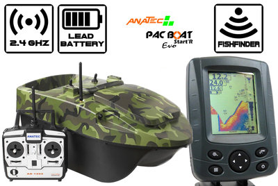 Anatec Pacboat Start'R Evo Forest Camo with Sight Tackle SK500 Color Fishfinder